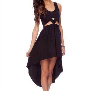 keepsake black cutout high low dress